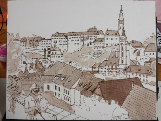 A freehand sketch of Cesky Krumlov done in India ink.