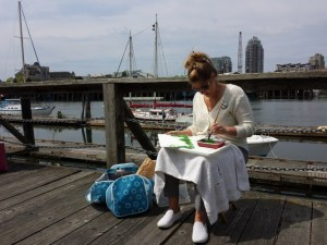 My sister painting her heart out. (Outdoor Painting Challenge 2015)