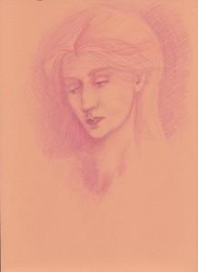 Sketch of a woman based of work of Edward Burne-Jones. Pink & orange pencil on orange paper.