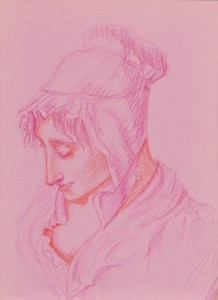 Sketch of a woman reading a book. Based on the work of Phillppe Mercier.