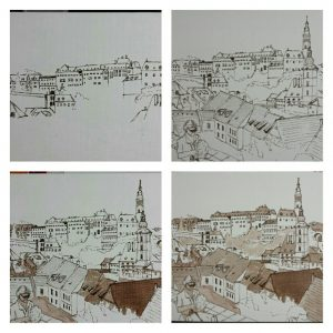 Collage of work in progress, Cesky Krumlov