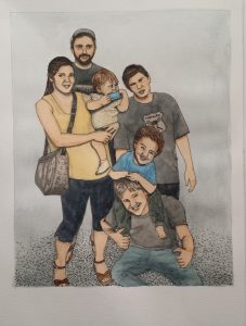 Family portrait, ink and watercolour