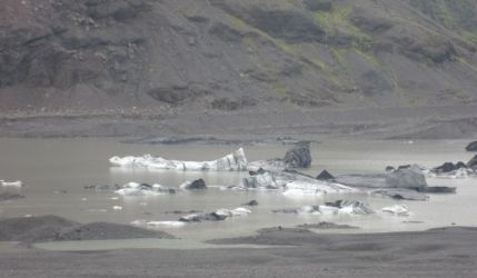 Ash covered glacier pieces floating in lake