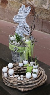 Spring decorations, plants in eggshells