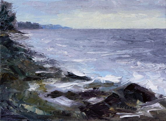 between land and sea begging the sky to intervene 9 x 12 inch oil on canvas by Terrill Welch  2013_03_04 060