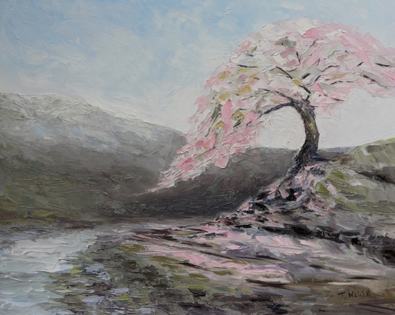 Plum Tree Pink 16 x 20 inch oil on gessobord by Terrill Welch 2013 04 13 020