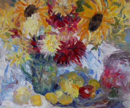 Plums Apples and Mostly Sunflowers 20 x 24 inch oil on canvas by Terrill Welch 2013_08_23 047