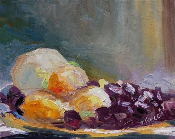 Blackberries Golden Plums Transparent Apple 8 x 10 inch oil on canvas by Terrill Welch 2013_08_23 065