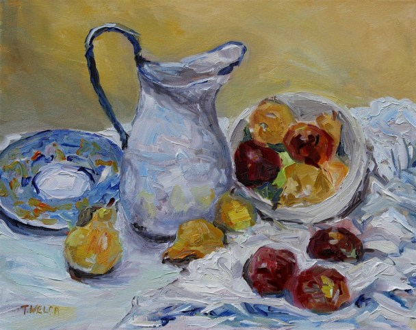 Pitcher Apples Pears 16 x 20 inch oil on canvas by Terrill Welch 2013_10_18 166