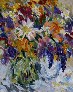Flowers to Market 10 x 8 inch acrylic painting sketch on panel board by Terrill Welch 2014_07_05 009