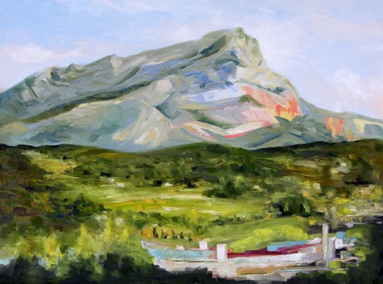 Evening with Cezanne's Mountain 18 x 24 inch oil on canvas by Terrill Welch Montagne Sainte-Victoire2014_09_15 050