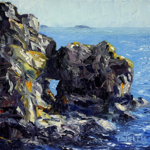 Castle Rocks at Creyke Point 8 x 8 inch oil on canvas by Terrill Welch 2013_12_11 020
