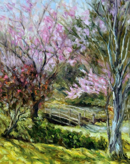 Plum Blossoms Japanese Garden 20 x 16 inch oil on canvas by Terrill Welch 2016-03-07 IMG_9273