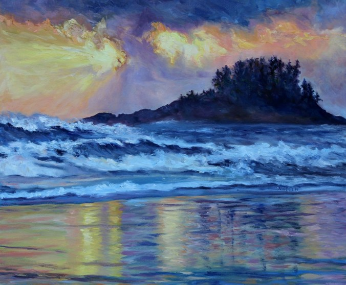 Chesterman Beach Sunset 20 x 24 inch oil on canvas by Terrill Welch 2016-04-01 IMG_2064