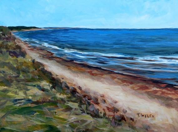 Dalvay Beach PEI 9 x 12 inch acrylic plein air sketch on gessobord by Terrill Welch IMG_3903