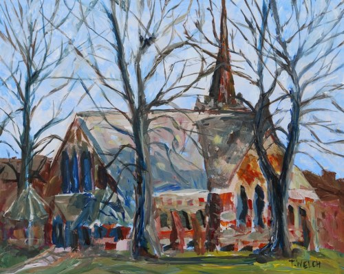 St Paul's Anglican Church Charlottetown PEI 8 x 10 inch acrylic plein air  sketch on gessoboard by Terrill Welch May 2 2016 IMG_3281