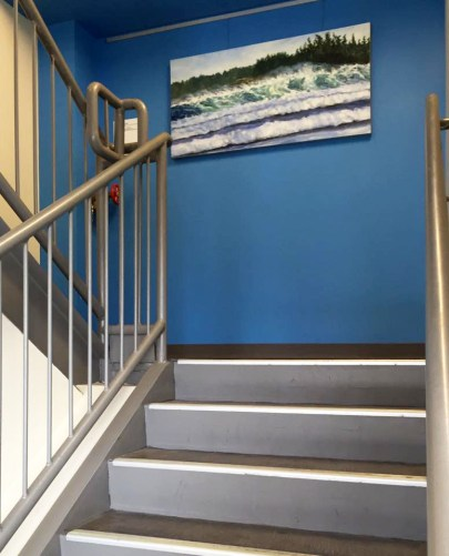 looking up the stairwell to firt landing by Terrill Welch