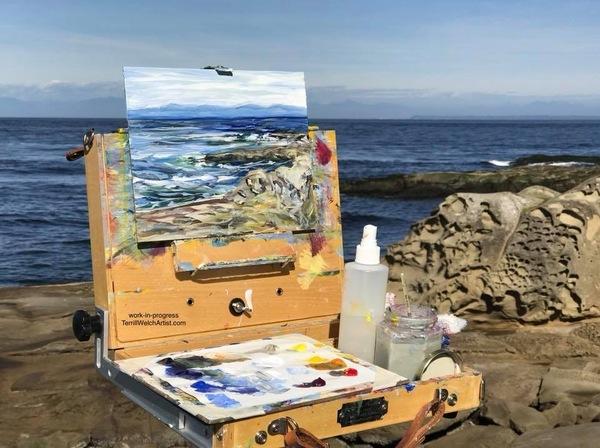 Terrill-Welch-plein-air-painting-at-Georgina-Point-on-Mayne-Island-BC-in-2018.jpeg