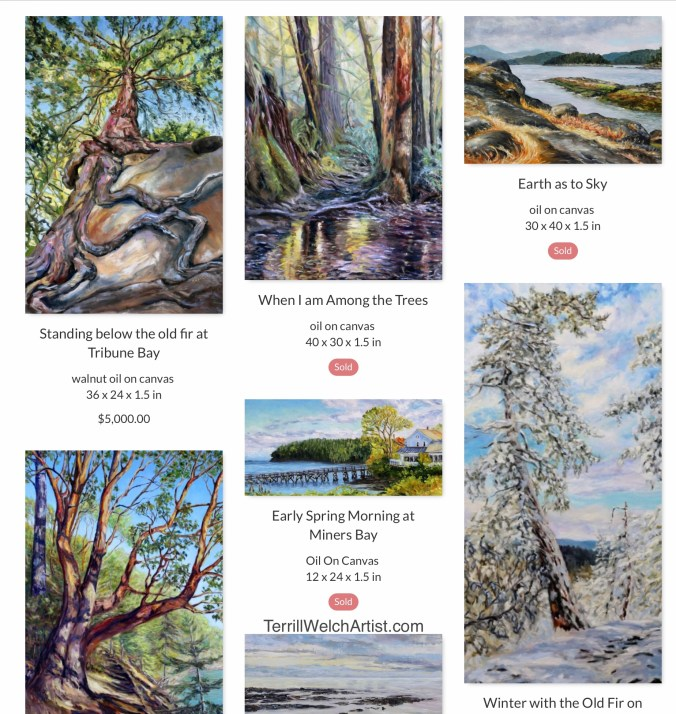 Image of several landscape paintings selected by Terrill Welch as her favourites from the end of the 2010-2019 decade.  Many are marked as sold