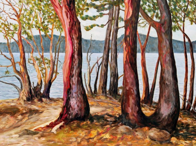 arbutus tree large landscape painting by Canadian contemporary artist