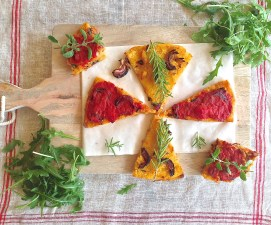 Polenta pizza baked