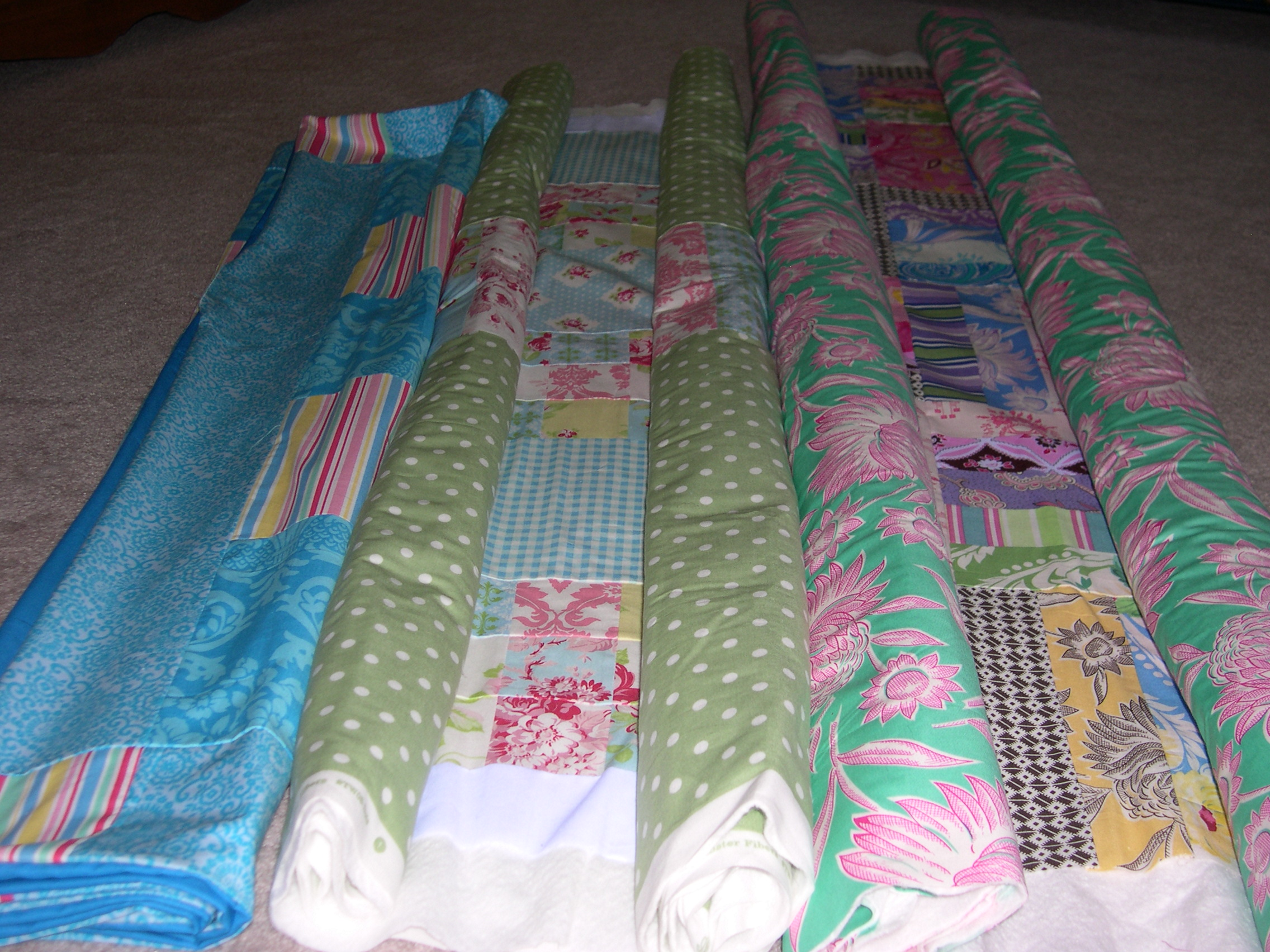 three quilts basted