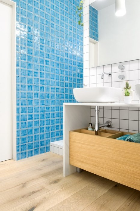 cómo potenciar una vivienda. baño azul