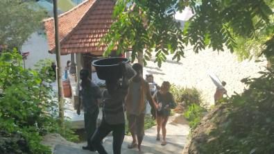 the steep stairway of Padang Padang
