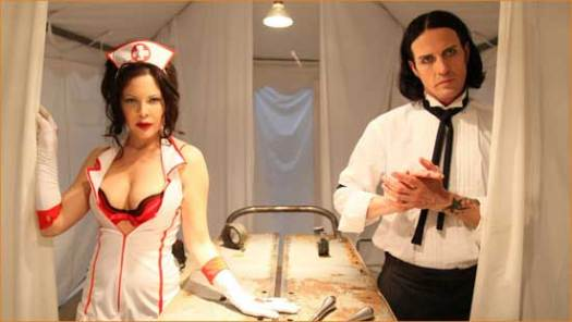 "Milk Maiden (Christa Campbell) and Harper Alexander (Kevin Ogilvie) display their Southern hospitality in ""2001 Maniacs: Field of Screams""."