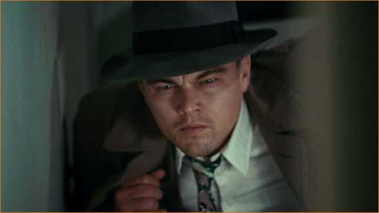 "U.S. Marshal Teddy Daniels (Leonardo DiCaprio) navigates the psychological labyrinth of ""Shutter Island""."