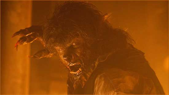 "The wolf (Benecio Del Toro), the wolf, the wolf is on fire in the pretty, but empty remake of ""The Wolfman""."