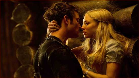 "Valerie (Amanda Seyfried) and Peter (Shiloh Fernandez) play Find the Lycanthrope in ""Red Riding Hood""."