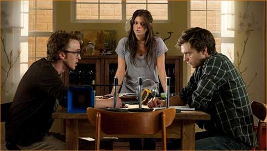 """Patrick (Tome Felton), Kelly (Ashley Greene) and Ben (Sebastian Stan) get their fear on in """"The Apparition""""."""