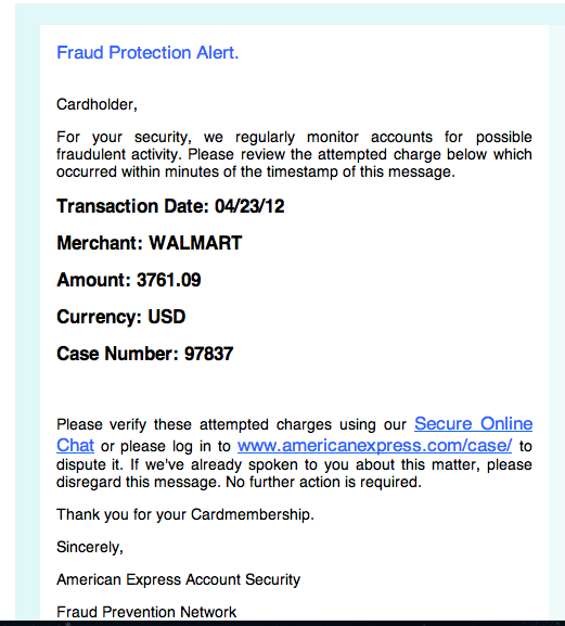 New American Express Scam Email