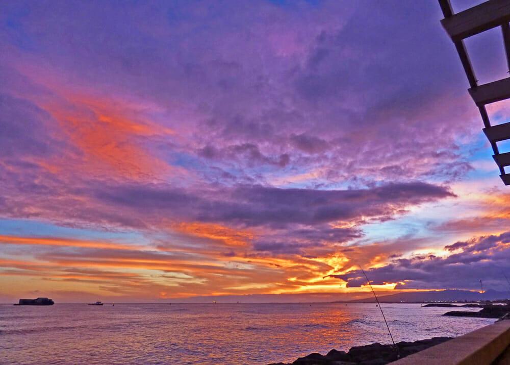 Hawaii Sunset at Honolulu Harbor
