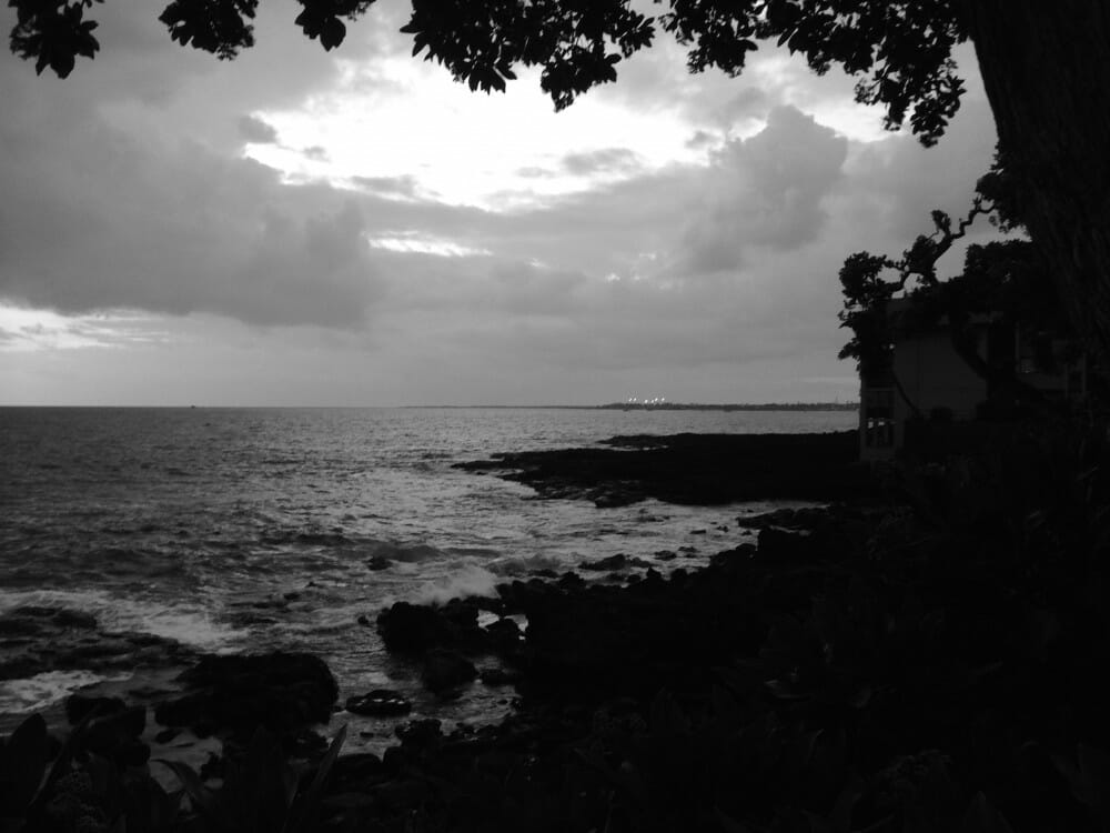 Sunset in black-and-white off Kona