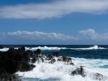Surf's up at Laupahoehoe on the Big Island's east side.