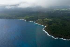 Big Island coastline from the air