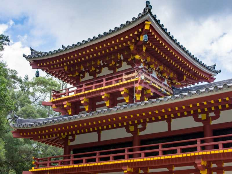 Byodo-In Temple with scaffolding in place on one tower