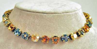 Blue and Topaz Crystal Necklace