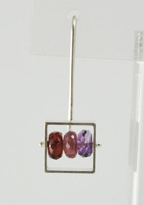Square Earring with Semi-Precious Stones