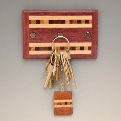 "Purpleheart ""Xander"" Key Rack - 3 magnets"