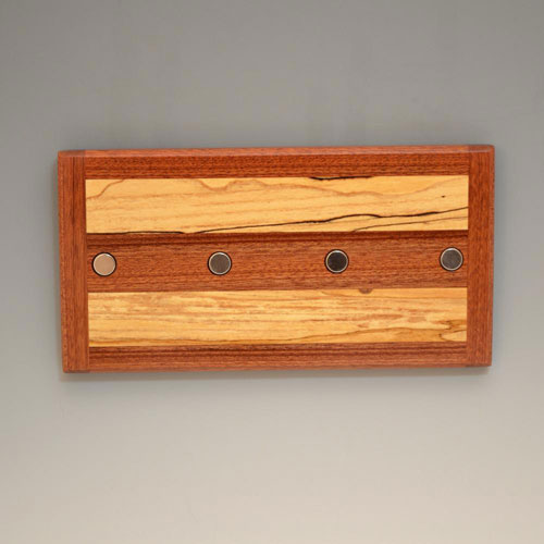 Mahogany and Spalted Maple Key Rack with 4 magnets