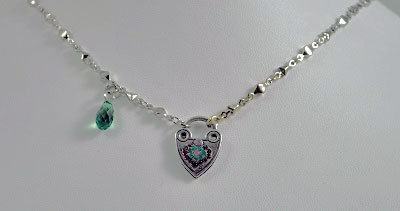 Amethyst and Emerald Heart Pendant