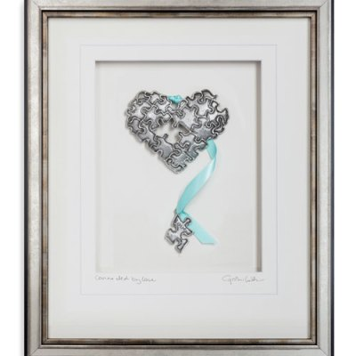 Pewter Puzzle Heart Wall Art- Connected by Love