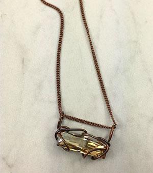 Bar Slide Necklace - Bronze-Champagne Stone