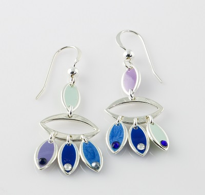 Feather Earrings - Blues with Crystals