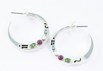 Embellished Hoop Earring with Crystals