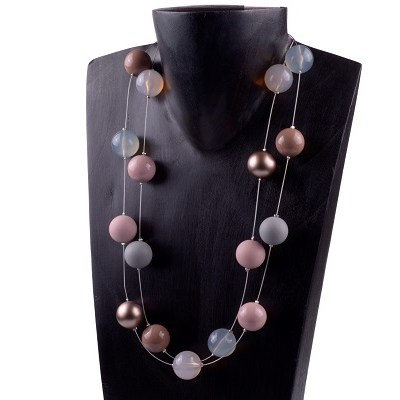 Pink Gray Large Beaded Necklace-ADI