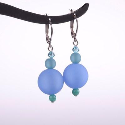 Frosted Blue Bead Dangle Earring - ADI